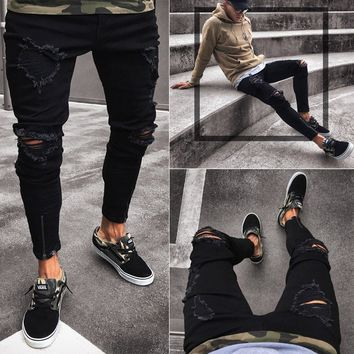 Men Slim Biker Denim Jeans Skinny Frayed Pants Distressed Rip Troursers Zipper