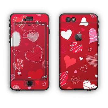 The Red Sketched Love Hearts Illustrastion Apple iPhone 6 Plus LifeProof Nuud Case Skin Set