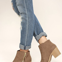 Crisp Air Taupe Suede Ankle Booties