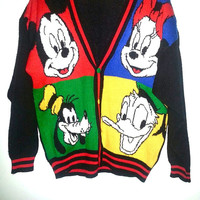 VINTAGE MICKEY MOUSE Sweater with Mini Mouse Goofy and Donald Duck Color Block Button Up Made Exclusively for Walt Disney Parks Size Large