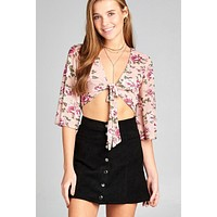 Ladies fashion elbow bell sleeve open front self tie floral print mesh crop top