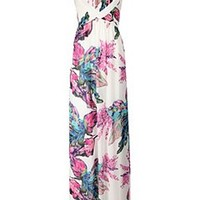 Pleated Bandeau Floral Maxi Dress