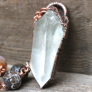 Raw Crystal Necklace Large Crystal Necklace Raw Gemstone Jewelry Electroformed Crystal Necklace Long Bohemian Necklace Gemstone Jewelry