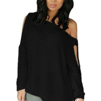 Black Long Sleeve Slit Arm and Side Ribbed Knit Top