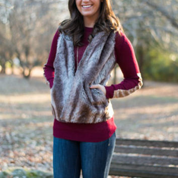 Hooked On Fur Vest, Taupe