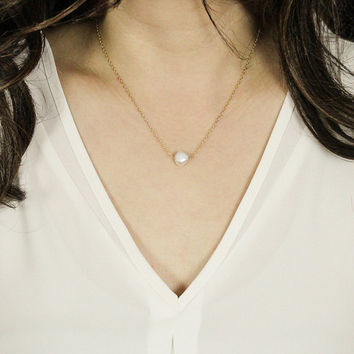 Pearl Necklace - Sterling Silver, Gold Filled, Pearl Pendant Necklace, Single Pearl Necklace. Bridesmaid Pearl Necklace