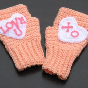 Conversation Hearts Candy Fingerless Mitts, Texting Gloves, Wristwarmers, Great for Va