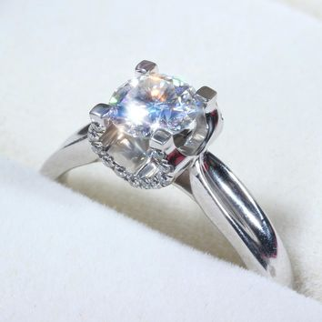 14KT White Gold 1 Carat Luxury Colorless Lab Diamond Ring Solitaire