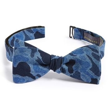 Men's Calibrate Camouflage Print Bow Tie, Size Regular - Blue