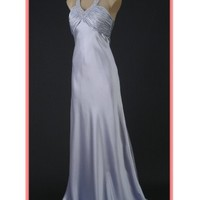 Silver Satin Old Hollywood Glamour Halter Evening Gown-Prom Dresses-Special Occasion Dress