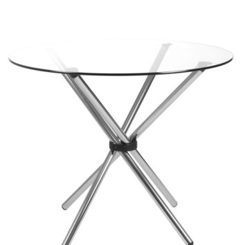 """Hydra 42"""" Round Dining Table with Clear Tempered Glass Top and Chrome Base"""