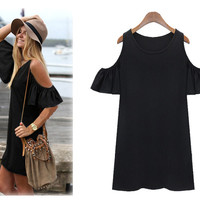 Butterfly Sleeve Cotton Dress