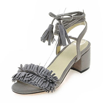 Summer Stylish Design Tassels With Heel Sandals [4914877124]