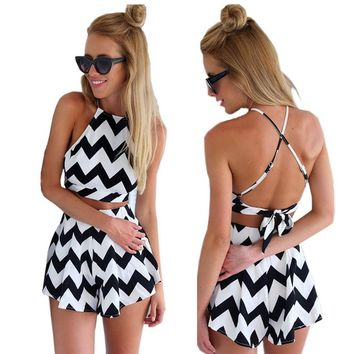 Moxeay® Chic Halter Straps Stripes Crossed Back Playsuit
