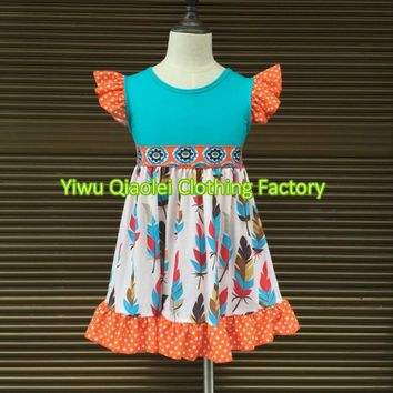 Thanksgiving baby dress feather high quality boutique high quality kids girl dress