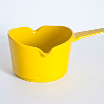Vintage Copco Bright Yellow Enameled Cast Iron Saucepan, Mid Century Cookware Saucepot, Michael Lax (?)