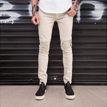 Men Knee Pleated Stitching Slim Hip hop Ripped Jeans Skinny Fashion High Street Male Holes Casual Stretch Motorcycle Biker Jeans
