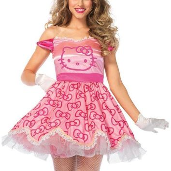 DCCKLP2 2PC.Pretty Pink Hello Kitty,satin bow print dress,plush hair piece in PINK