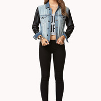 Faux Leather-Trimmed Denim Jacket