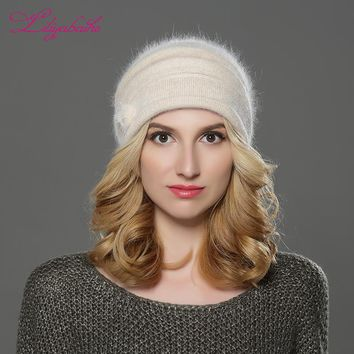 LILIYABAIHE NEW Style Women winter Beanies hat knitted wool angora hats  Mink balls and pearl decoration cap Double warm hat