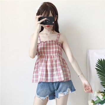 Summer women crop top 2018 Ukraine Harajuku Summer sweet striped plaid shirt loose sleeveless vadim plus size camis