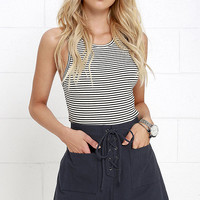 Happy Hum Navy Blue Lace-Up Skirt