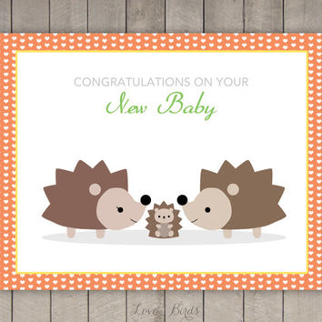 Congratulations on your new baby card - hedgehogs