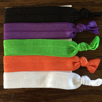 Halloween Hair Ties / Elastic Hair Ties / Yoga Hair Ties / Halloween Themed Hair Ties / No Crease Hair Ties