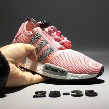 Adidas NMD Trending Women Casual Shiny Running Sports Shoes Sneakers Pink Grey I-CQ-YDX