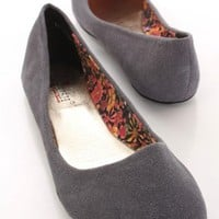 Grey Rough Faux Suede Closed Toe Flats