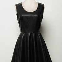 Black Pu Leather Sleeveless A-Line Dress