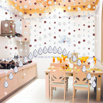 20 Meter 11 Color Party Home Decorations Built-in French Window Crystal Arylic Glass Beads Rope Curtain Hanging on Screen Beads