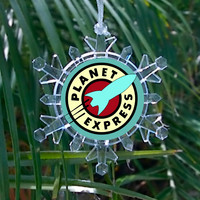 Futurama Planet Express Snowflake Color Blinking Holiday Christmas Tree Ornament