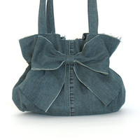 Recycled bow purse - Eco friendly handbag - denim bow bag - upcycled blue jean purse