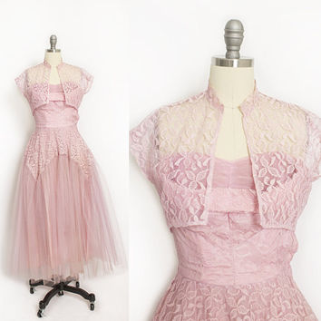 Vintage 1950s Dress - Pink Lace & Tulle Sweetheart Strapless Full Skirt Party Prom Bolero Set 50s - XS Extra Small