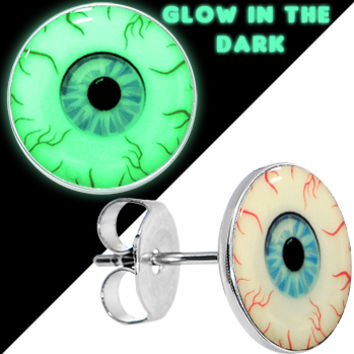 Blood Shot Eye Glow in the Dark Stud Earrings | Body Candy Body Jewelry