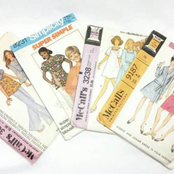 Verity of Fashion Patterns from late 60s early 70s/McCall's and Simplicity Pattern (Lot of 4)