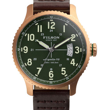 Filson Men's Mackinaw Field Green Dial Watch, 43mm - Silver