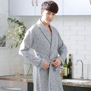 Spring and autumn robe male 100% long-sleeve cotton bathrobe bathrobes long kimono design plus size cotton thin 100% sleepwear