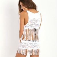 Bettinis Lace Dress with Fringe Bone 342HI - Free Shipping at Largo Drive