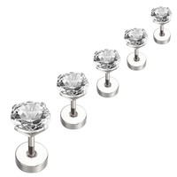 Nicever Stainless Steel Cubic Zirconia Stud Earrings Helix Cartilage Earrings Flat Back 3-7mm 5 Pairs