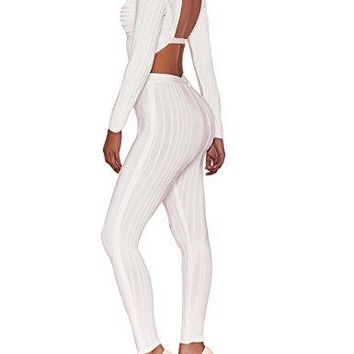 UONBOX Women's Sexy Rayon Plunge V Neck Long Sleeves Club Party Bandage Trousers Jumpsuit Rompers