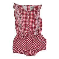 Mayoral Baby Girls' Embroidered Red Romper