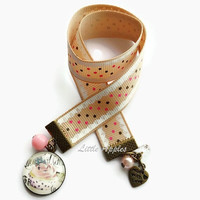 Chocolate cupcake ribbon bookmark, cake, bakers, pastry lovers, novelty, cookbook, gift, culinarian, shabby chic, polka dots, pink brown