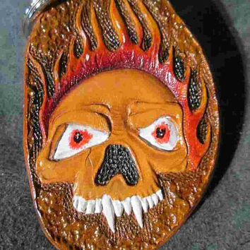 Custom tooled keychain, skull key chain, Handmade keychains, Custom key fobs, tooled leather,