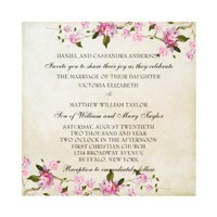 Pink Japanese Cherry Blossoms Wedding Personalized Announcement from Zazzle.com
