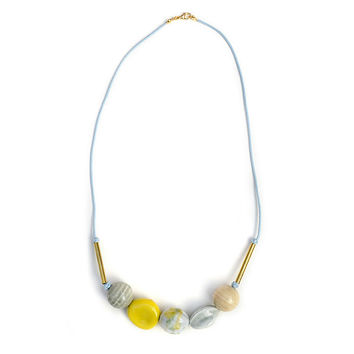Multi Colored Bead Necklace, Ceramic Beads Jewelry, Yellow Ceramic Necklace, Knotted