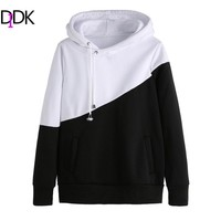 DIDK Autumn Ladies Hoodie Casual Pullovers For Women Black and White Color Block Long Sleeve Hooded Sweatshirt With Pockets