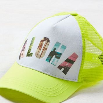 AEO Women's Aloha Trucker Hat (Neon Yellow)