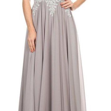 Illusion Keyhole Back Long Prom Dress with Appliques Silver